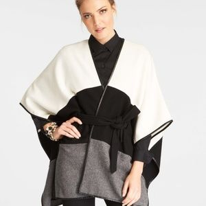 NWT Ann Taylor Tricolor Belted Wool Cape Poncho OS